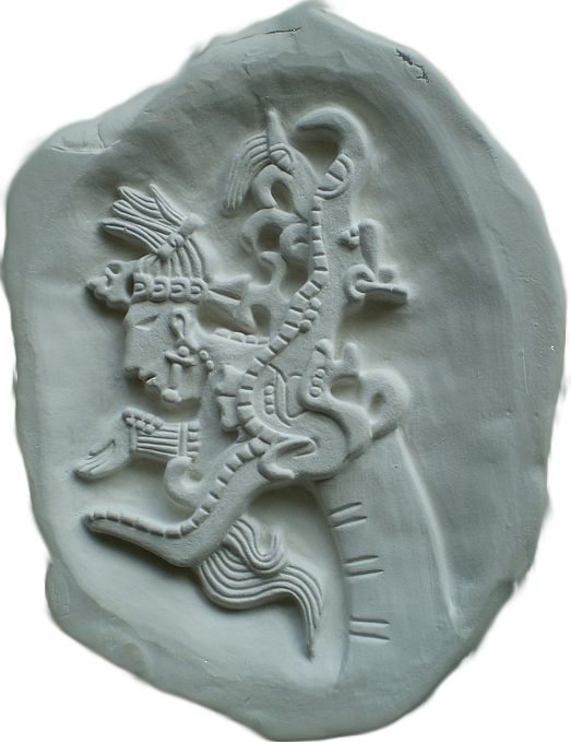 'Serpentine Visions' Aztec ceramic carving - An ancestor appears from the mouth of a smokey vision serpent to give advice from the gods.