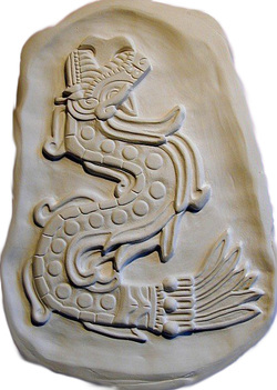 Quetzalcoatl, Aztec replica carving, the Feathered Serpent
