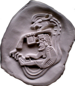 Seated Lord Pacal, Aztec King.  Ancient replica clay carving